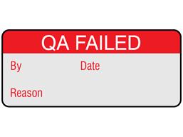 QA failed aluminium foil labels.