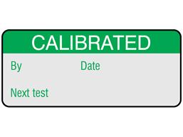 Calibrated and next test aluminium foil labels.