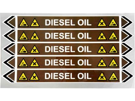 Diesel oil flow marker label.