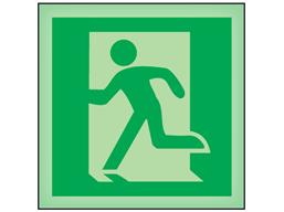 Running man to left symbol photoluminescent safety sign