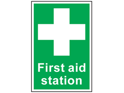 First aid station symbol and text safety sign.