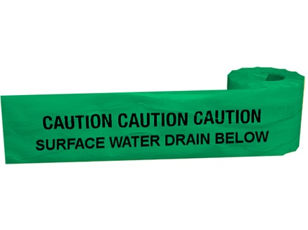 Caution surface water drain below tape.