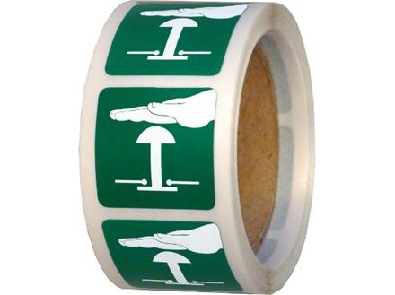 Emergency stop symbol label.