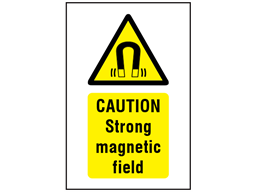 Caution Strong magnetic field symbol and text safety sign.