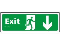 Exit, running man, arrow down sign.