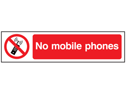 No mobile phones, mini safety sign.