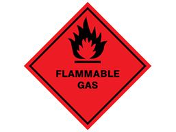 Flammable gas hazard warning diamond sign