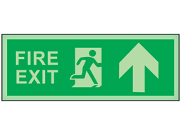 Fire exit, arrow up photoluminescent safety sign