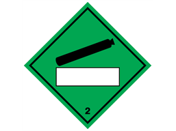 Compressed air, class 2, hazard diamond label (with write on panel)