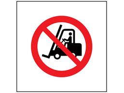 No fork lift trucks symbol safety sign.
