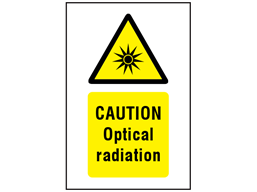 Caution optical radiation symbol and text safety sign.