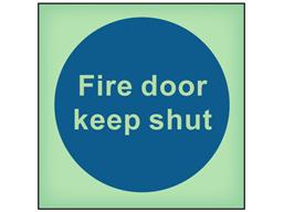 Fire door keep shut photoluminescent safety sign