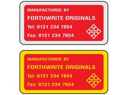 Metallic finish label, 50mm x 100mm