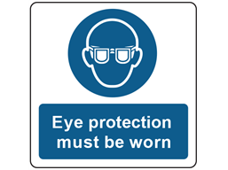 Eye protection symbol and text safety label.