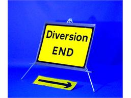 Diversion end roll up road sign