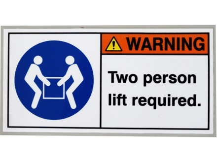 Two person lifting required label
