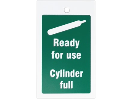 Gas cylinder full symbol and text tag