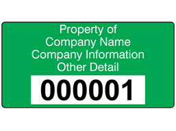 Assetmark tamper evident serial number label (text on colour), 38mm x 76mm