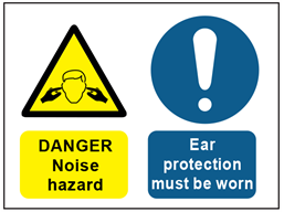 Danger noise hazard, ear protection must be worn safety sign