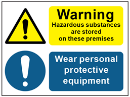 COSHH. Warning hazardous substances are stored on these premises, Wear personal protective equipment sign.