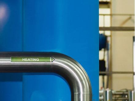 Heating flow marker label.
