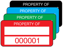 Property asset label, numbered, polyester