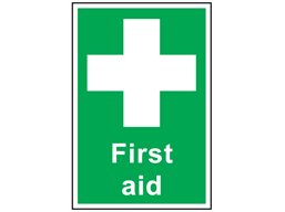 First aid symbol and text safety sign.