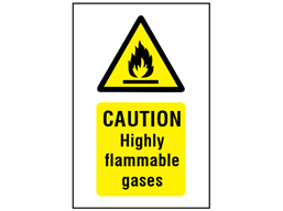 Caution highly flammable gases symbol and text safety sign.