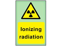 Ionizing radiation photoluminescent safety sign