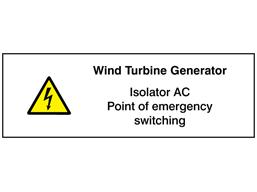 wind turbine generator  isolator ac point of emergency
