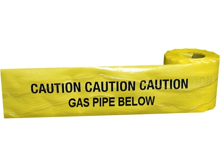Caution gas pipe below tape.