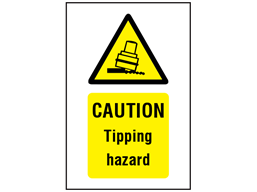 Caution Tipping hazard symbol and text safety sign.
