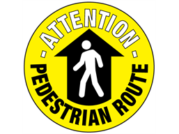 Attention pedestrian route floor marker