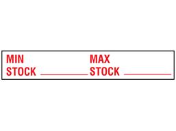 Minimum maximum stock rack label.