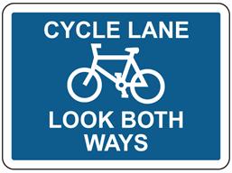 Cycle lane look both ways sign