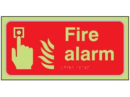 Fire alarm symbol and text photoluminescent sign.