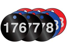 Coloured aluminium valve tags, numbered 176-200