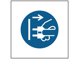 Disconnect mains plug from electrics symbol safety sign.