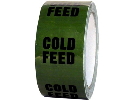 Cold feed pipeline identification tape.