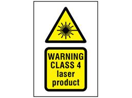 Warning Class 4 laser product symbol and text safety sign.