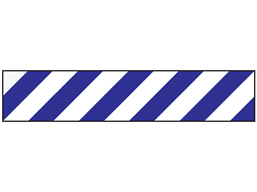 Laminated warning tape, blue and white chevron.