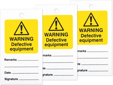 Warning defective equipment tag.
