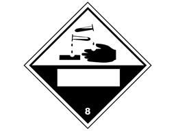 Corrosive, class 8, hazard diamond label (with write on panel)
