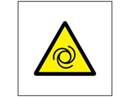 Machinery starts automatically hazard symbol safety sign.