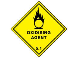 Oxidising agent 5.1 hazard warning diamond sign