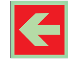 Horizontal fire arrow left symbol photoluminescent safety sign