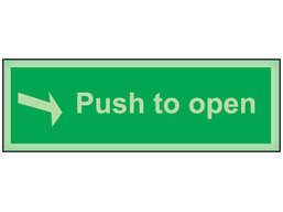 Push to open photoluminescent safety sign