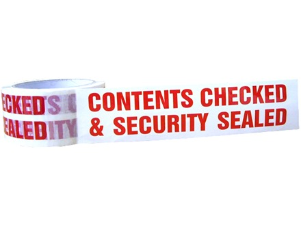 'Contents Checked and Security Sealed' Tape