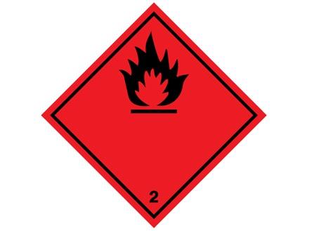 Flammable symbol, class 2, hazard diamond label