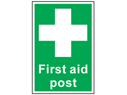 First aid post symbol and text safety sign.